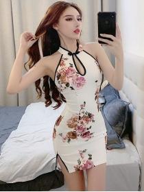 Sexy Charming Off Shoulder Flowers Cheongsam Slim Dress