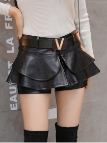 Fashion Lady Layered Flouncing Leather Short Pantskirt