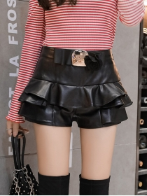 Wholesale Spring Leather Flouncing Short Pantskirt