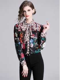 Charming Europe Tie Collar Flowers Long Sleeve Blouse