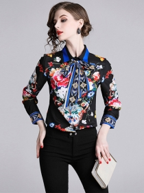 Wholesale Europe Tie Collar Flowers Printings Slim Blouse