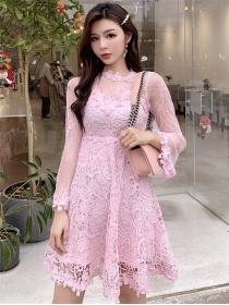 Spring Fashion 2 Colors Gauze Sleeve Lace A-line Dress
