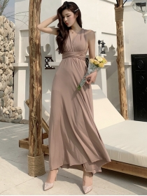 Wholesale 3 Colors Backless Halter Vocation Maxi Dress