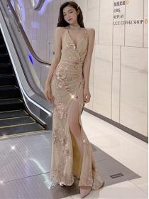 Korea Sexy 2 Colors Backless Split Sequins Slim Maxi Dress