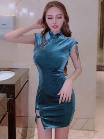 Sexy Lady 3 Colors Buckle Stand Collar Velvet Tank Dress