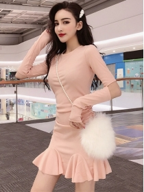 Fashion Spring 2 Colors Pleated Flouncing Skinny Dress