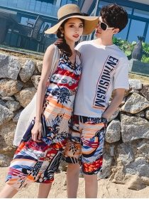 Summer Fashion Flowers Letters Vocation Couple Suits