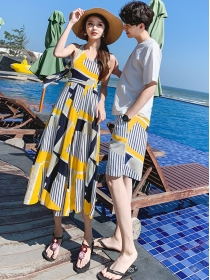 Korea Fashion Wholesale Stripes Couple Suits