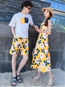 Korea Summer Fashion Flowers Vocation Couple Suits