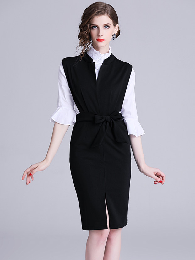 Europe Quality Flare Sleeve Blouse with Tie Waist Tank Dress