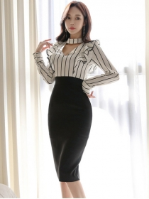 Fashion OL Flouncing Stripes High Waist Bodcyon Dress