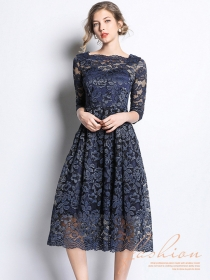 Spring New Arrive High Waist Flouncing Lace Long Dress