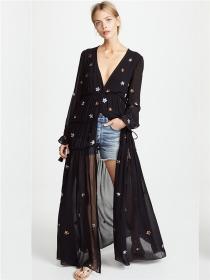 Bohemia Fashion 2 Colors Stars Embroidery Linen Maxi Dress