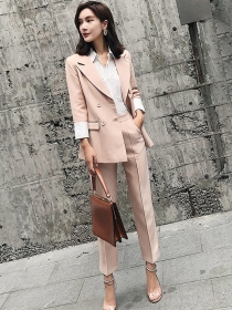 Brand Fashion 2 Colors Tailored Collar Slim Two Pieces Suits