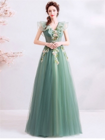 Fairy Princess Beads Flowers Flouncing Collar Gauze Party Dress