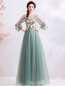 Pretty Women Flowers Embroidery High Waist Gauze Party Dress