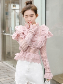 Pretty Look Flouncing V-neck Hollow Out Lace Blouse