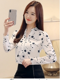 Fashion New Stars Zipper V-neck Long Sleeve Blouse