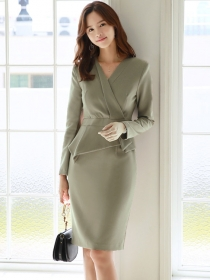 Quality OL Fashion Tailored V-neck Bodycon Long Sleeve Dress