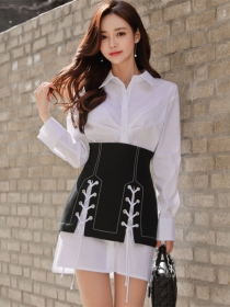 Spring New Shirt Collar Loosen Dress with Tie Short Skirt
