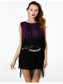 Modern Lady Beads Collar Tassels Sleeveless Dancer Dress