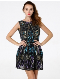 Chic Europe Fashion 2 Colors Elastic Waist Sequins Dress