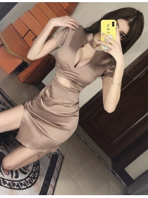 Sexy Wholesale Hollow Out Low Bust Skinny Dress