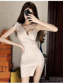 Sexy Lady Off Shoulder Low V-neck Skinny Tank Dress