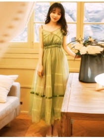Korea Fashion High Waist Gauze Flouncing Maxi Dress