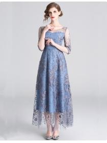 Nobel Women Fashion Flowers Embroidery Gauze Maxi Dress