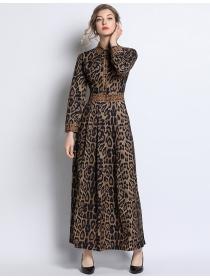 Europe Quality High Waist Shirt Collar Leopard Maxi Dress