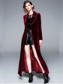 Brand Fashion Tailored Collar High Waist Velvet Long Coat