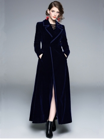 Quality Fashion High Waist Turn-down Collar Velvet Long Coat