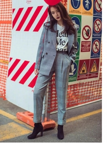 Vogue Lady Tailored Collar Mini Plaids Leisure Suits