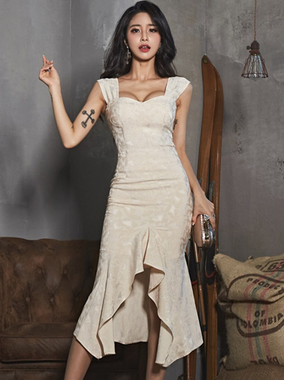 Grace Lady Square Collar High Waist Fishtail Dress Set