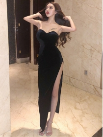 Sexy Wholesale Split Velvet Strapless Long Dress