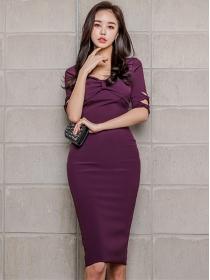 Elegant Fashion Bowknot Bust Skinny Mid-sleeve Dress