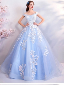 Charming Lady Flowers Embroidery Gauze Party Dress