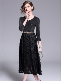 Summer Fashion V-neck Sequins Splicing Feathers Long Dress