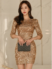 Sexy Korea Backless Gold Sequins Skinny Mid-sleeve Dress