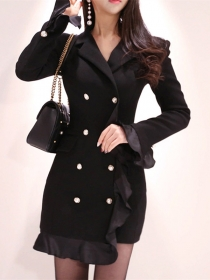 Modern Lady Double-breasted Tailored Collar Fishtail Slim Dress