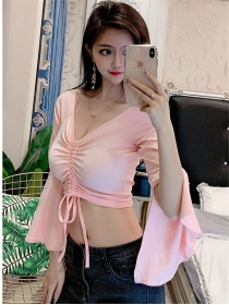 Wholesale Sexy Draw-string Bust Flare Sleeve T-shirt