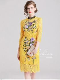 Grace Women Fashion Flowers Embroidery Skinny Lace Dress