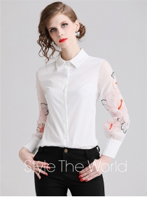 Fashion Spring Flowers Embroidery Sleeve Loosen Blouse