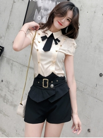 Pretty Girlish Bowknot Double-breasted Blouse with Short Pants