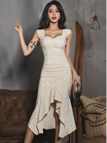 Grace Lady Square Collar High Waist Fishtail Dress Set