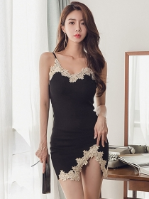 Sexy Korea Lace Flowers Straps Knitting Skinny Dress