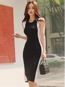 Fashion Wholesale Color Block Knitting Tank Dress