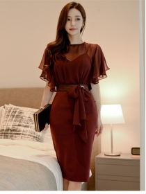 Korea OL Fashion Tie Waist Flouncing Slim Dress
