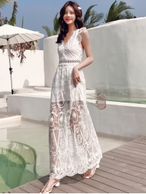 Pretty Fashion Lace Flowers Embroidery Backless Maxi Dress